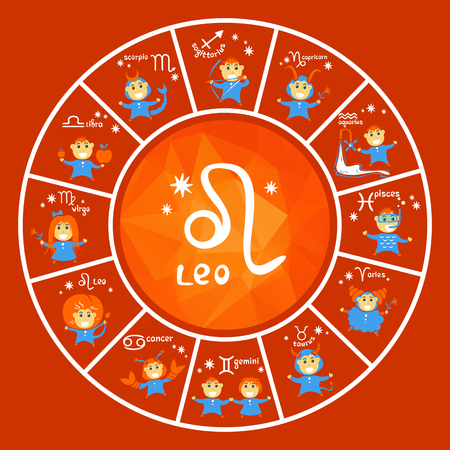 Zodiac signs vector set isolated on red background. Cartoon funny characters. Design elements for flyers or banners.