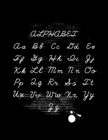 letras negras: letras dibujadas mano conjunto. Vector del alfabeto escrito a mano aislado sobre fondo negro. ejemplo de la tinta. elemento de diseño de moda.