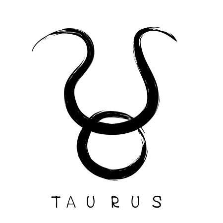 Zodiac sign Taurus isolated on white background. Design element for flyers or greeting cards.