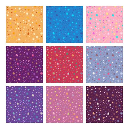 purple wallpaper: Stars seamless patterns set. Design elements for flyers or banners.