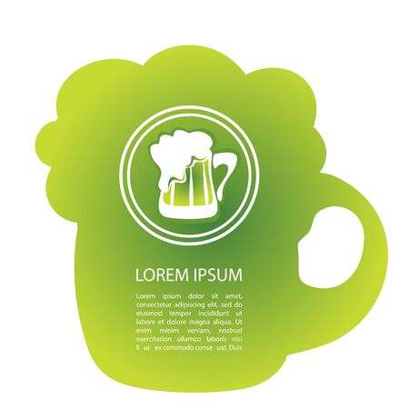 paddys day: Green beer mug isolated on white background. Saint Patricks Day symbol. Design element for flyers or banners.