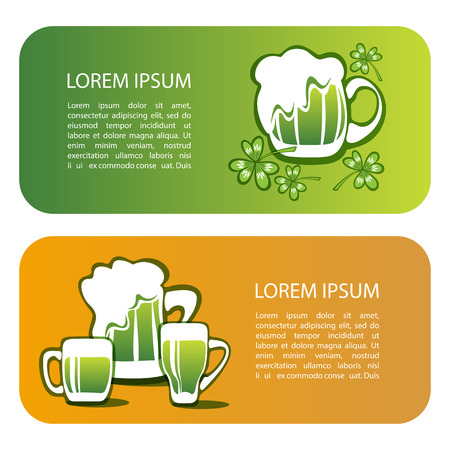 Green beer mug with text frame. Saint Patricks Day symbol templates. Design element for flyers or banners.