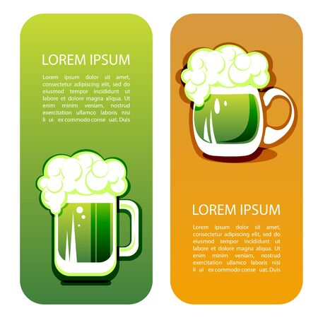paddys: Green beer mug with text frame. Saint Patricks Day symbol templates. Design element for flyers or banners.
