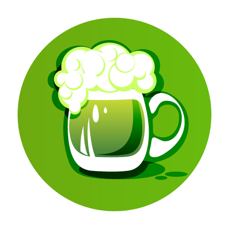 Green beer mug isolated on white background. Saint Patricks Day symbol. Design element for flyers or banners.
