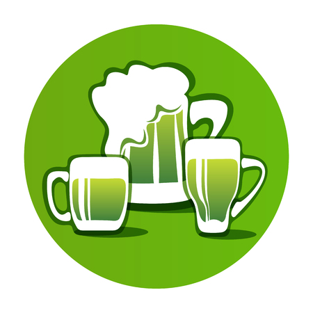 st paddys day: Green beer mug isolated on white background. Saint Patricks Day symbol. Design element for flyers or banners.