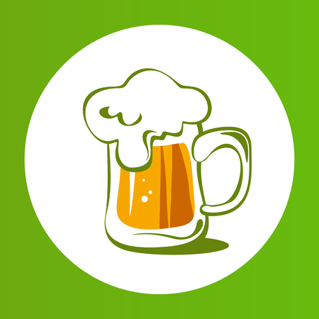 Beer mug isolated on white background. Saint Patricks Day symbol. Design element for flyers or banners.