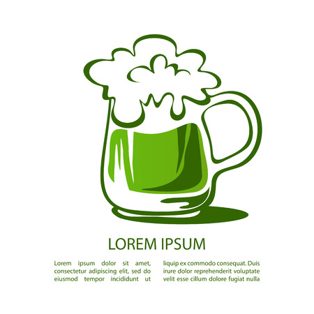 paddys: Green beer mug isolated on white background. Saint Patricks Day symbol. Design element for flyers or banners.