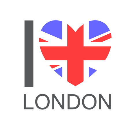 touristic: I love London, text with symbol isolated on white background. Heart with Union Jack flag. Design element for stickers or tags.