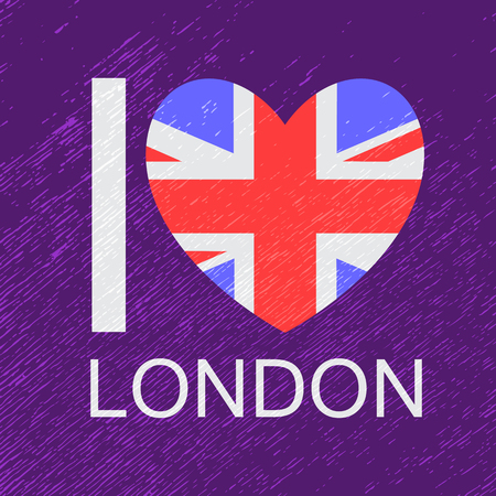 I love London, text with symbol isolated on blue background. Heart with Union Jack flag. Design element for stickers or tags.