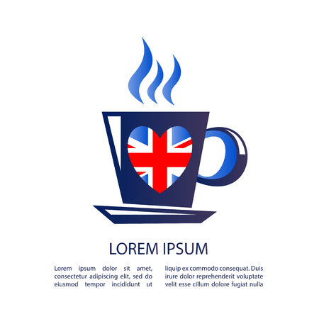 touristic: I love London, text with symbol. Tea cup isolated on white background. English tea drinking symbol. Heart with Union Jack flag. Design element for stickers or flyers.