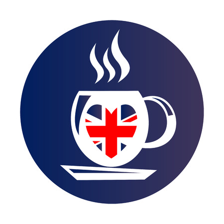 english culture: I love London, text with symbol. Tea cup isolated on white background. English tea drinking symbol. Heart with Union Jack flag. Design element for stickers or flyers.