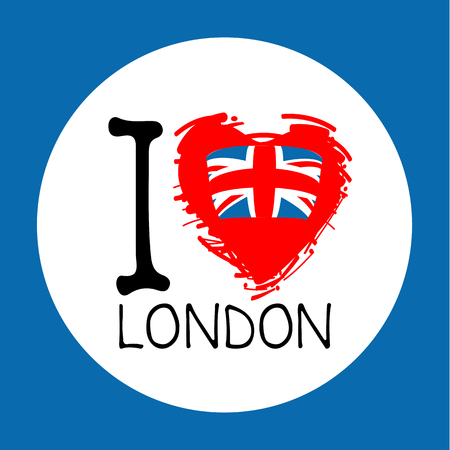 I love London, hand drawn text with red heart isolated on white background. Design element for stickers or tags. Illustration