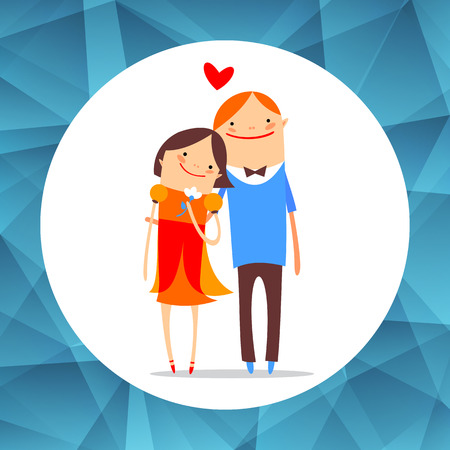courtship: Couple in love isolated on white background. Valentines Day vector illustration. Flat design. Design elements for greeting cards and etc.