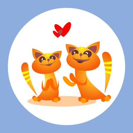 Two cats in love isolated on white background. Valentines Day vector illustration. Design elements for greeting cards and etc.