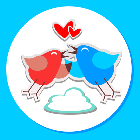 Two birds in love isolated on white background. Valentines Day vector illustration. Design elements for greeting cards and etc. Illustration