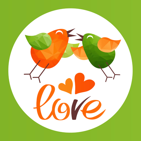 courtship: Two birds in love isolated on white background. Valentines Day vector illustration. Design elements for greeting cards and etc. Illustration
