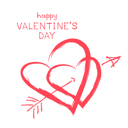 pierce: Two pierced hearts isolated on white background. Valentines Day vector illustration. Design element for greeting cards and etc.