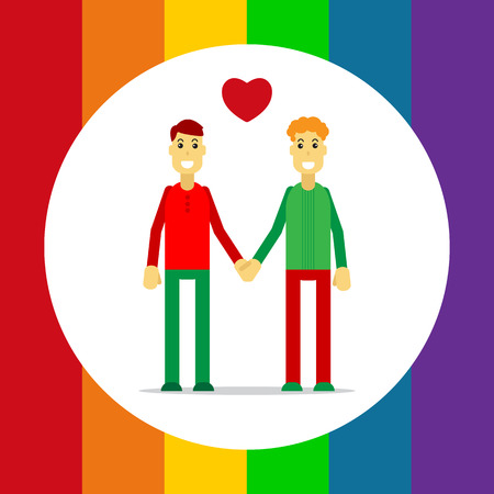 Gay couple isolated on white background. LGBT couple symbol. Design element for flyers and banners. Illustration