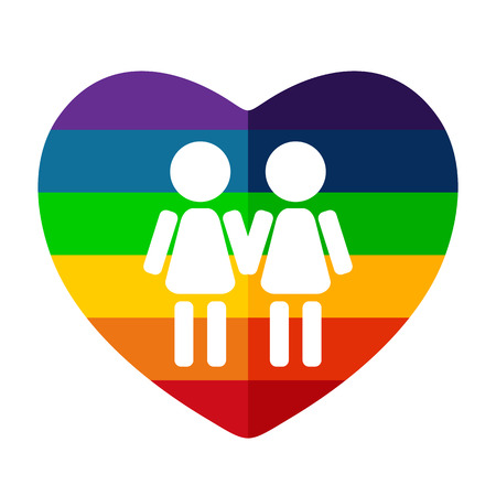 simbolo de la mujer: Rainbow heart with gay women couple isolated on white background. LGBT couple symbol. Design element for flyers and banners.