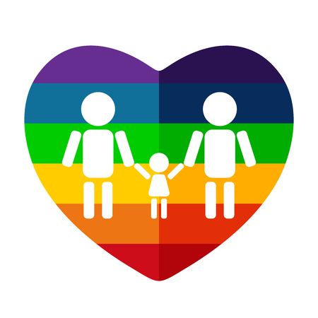 Rainbow heart and gay couple with child isolated on white background. LGBT pride symbol. Design element for flyers and banners.