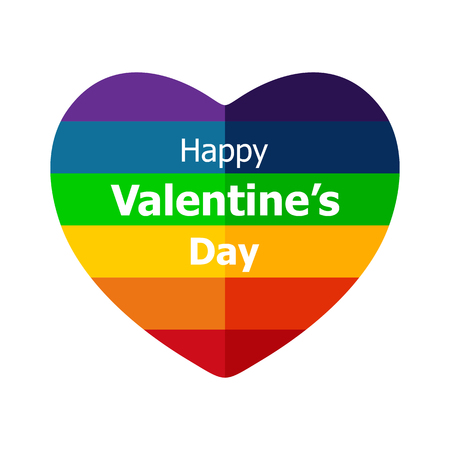 civil rights: Rainbow heart isolated on white background. Gay pride symbol. LGBT community symbol. Design element for flyers and banners.