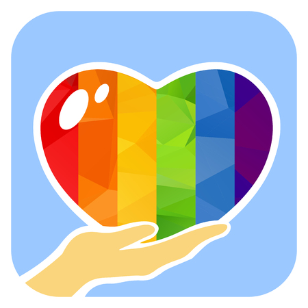 Hand with rainbow heart isolated on white background. Gay pride symbol. LGBT community symbol. Design element for flyers and banners.