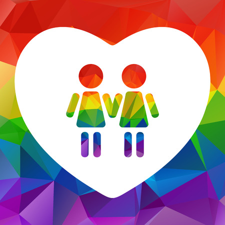 simbolo de la mujer: Gay women couple isolated on white background. LGBT pride symbol. Design element for flyers and banners.