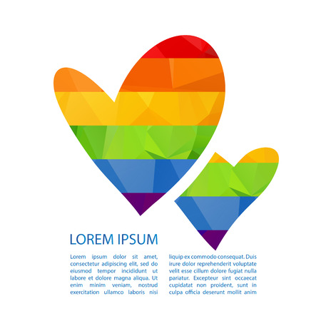 nontraditional: Rainbow hearts isolated on white background. Gay pride symbol. LGBT community symbol. Design element for flyers and banners.