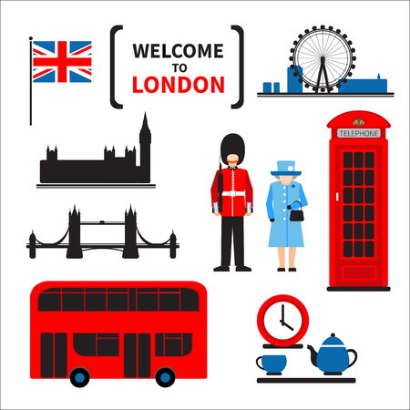 London symbols set isolated on white background. Design elements for flyers or posters and etc. Flat design. Ilustracja