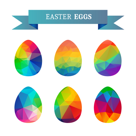 pascuas navideÑas: Easter eggs isolated on white background. Holiday set. Design elements for greeting cards or flyers. Vectores