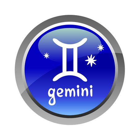 web graphics: Zodiac sign Gemini isolated on white background. Graphics element for flyers or web design.