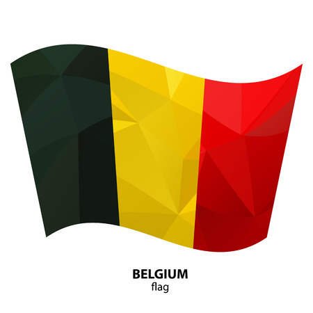 Polygonal Belgium flag isolated on white background. Design element for flyers or banners.