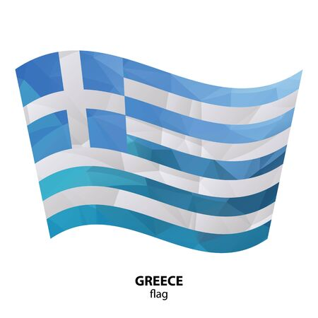 Polygonal Greece flag isolated on white background. Design element for flyers or banners.