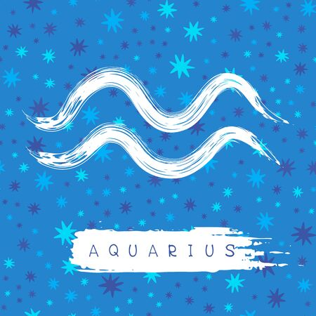 drawings image: Aquarius sign isolated on blue background. Illustration