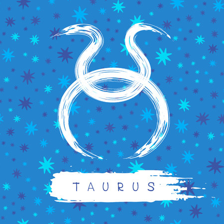 Taurus sign isolated on blue background.
