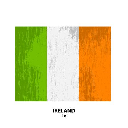 ireland flag: Grunge Ireland flag isolated on white background. Design element for flyers or banners.