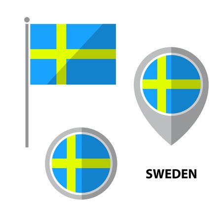 bandera de suecia: Conjunto de bandera de Suecia y el icono de puntero del mapa. Elementos de diseño para pegatinas o volantes. Diseño plano.