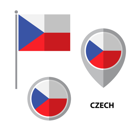 Set of Czech flag and map pointer icon. Design elements for stickers or flyers. Flat design.