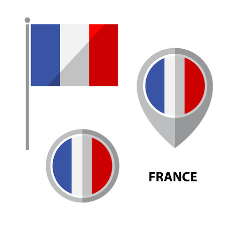 arow: Set of France flag and map pointer icon. Design elements for stickers or flyers. Flat design.