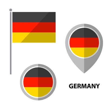 Set of Germany flag and map pointer icon. Design elements for stickers or flyers. Flat design.