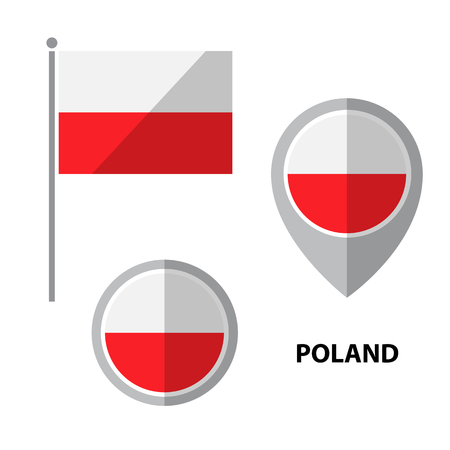 Set of Poland flag and map pointer icon. Design elements for stickers or flyers. Flat design. Illustration