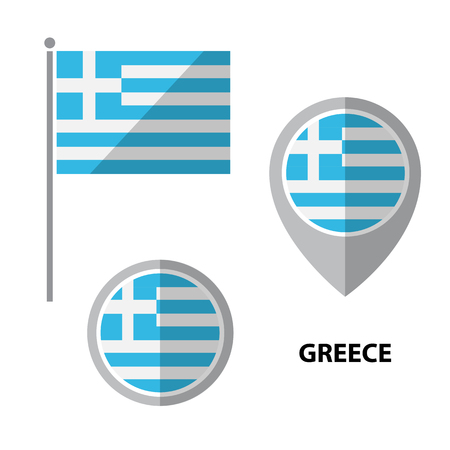 Set of Greece flag and map pointer icon. Design elements for stickers or flyers. Flat design.