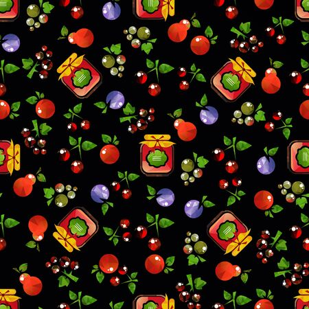 Jam jar with fruits and berries isolated on dark background. Seamless pattern. Design element for wrapping paper or fabric.