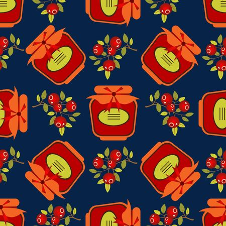 Jam jar with cranberry isolated on dark background. Seamless pattern. Design element for wrapping paper or fabric. Çizim