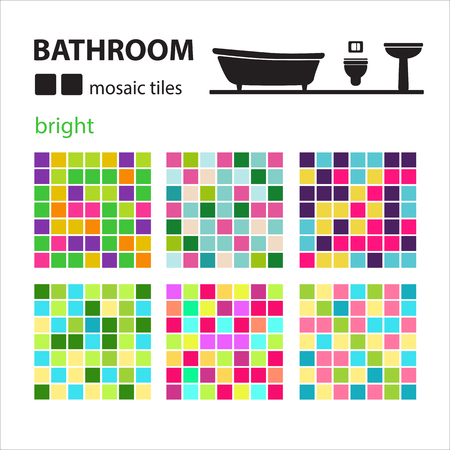 washbowl: Bathroom mosaic tiles set isolated on white background. Ceramic tile floor and wall tiles. Design elements collection. Illustration