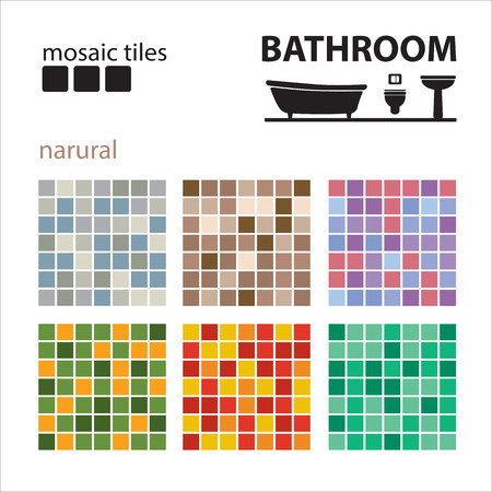 white bathroom: Bathroom mosaic tiles set isolated on white background. Ceramic tile floor and wall tiles. Design elements collection. Illustration