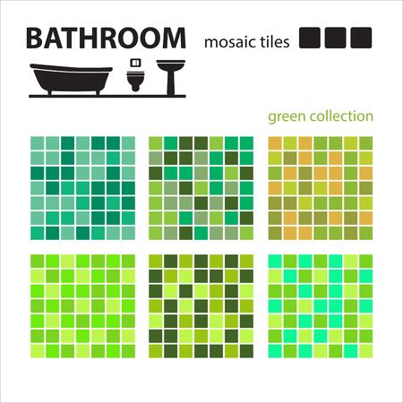 #80568430   Badezimmer Mosaik Fliesen Set Isoliert Auf Weißem Hintergrund.  Keramikfliesenboden Und Wandfliesen. Design Elemente Sammlung.