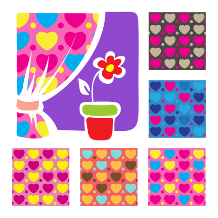 Floral colorful geometric seamless patterns set. Textile prints for pillows and curtains. Cartoon window with flower.