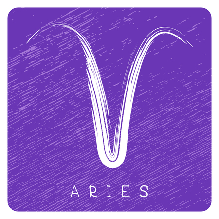 Zodiac sign Aries isolated on blue grunge background. Design element for badges and stickers.
