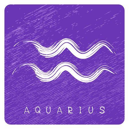 zodiac signe verseau isolé sur fond bleu grunge . élément de conception pour les badges et les autocollants. Vecteurs